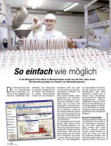Zeitungsausschnitt Großmetzgerei Bock & Softwarelösung FoodOffice/FS Mobile Production