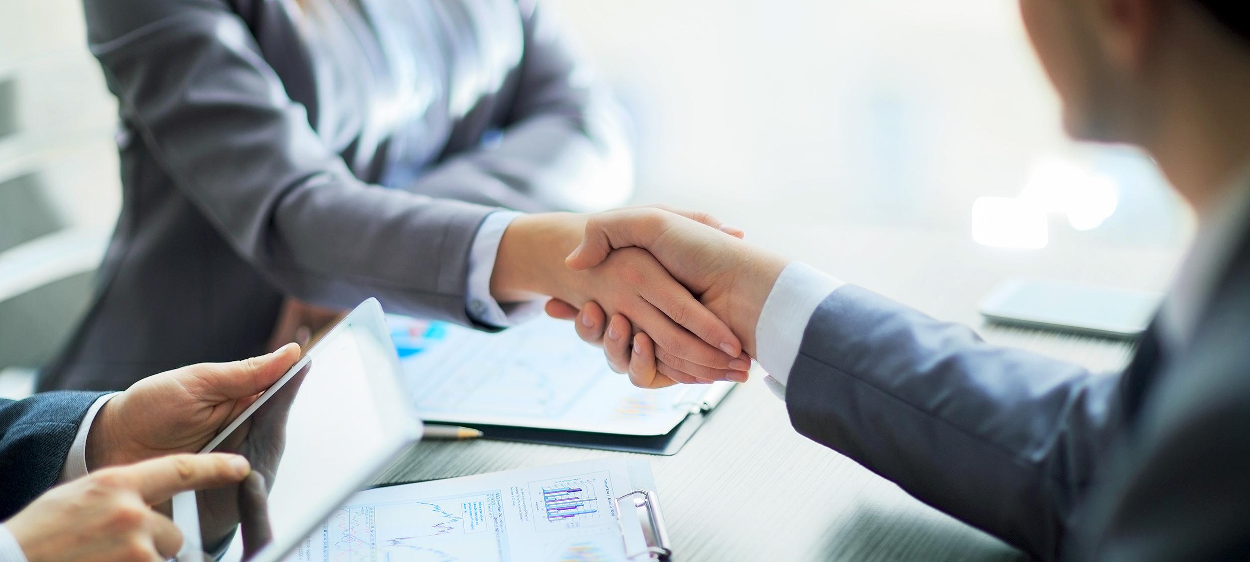 Partnerseite, Geschäftskunden schütteln die Hände