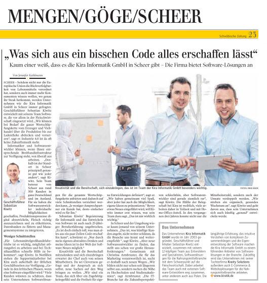 Artikel KiRa Schwäbische Zeitung