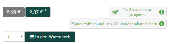Abofunktion in der E-commerce Lösung Food eShop