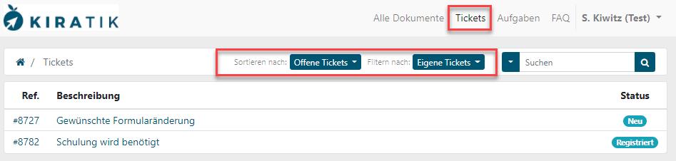 Filter-Tickets